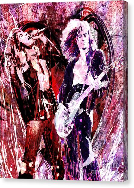 Robert Plant Canvas Print - Led Zeppelin - Jimmy Page And Robert Plant by Ryan Rock Artist