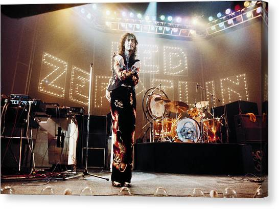 Jimmy Page Canvas Print - Led Zeppelin Lights 1975 Color by Chris Walter