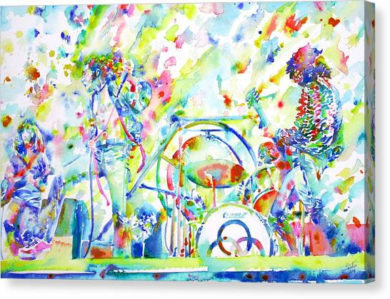 Robert Plant Canvas Print - Led Zeppelin Live Concert - Watercolor Painting by Fabrizio Cassetta