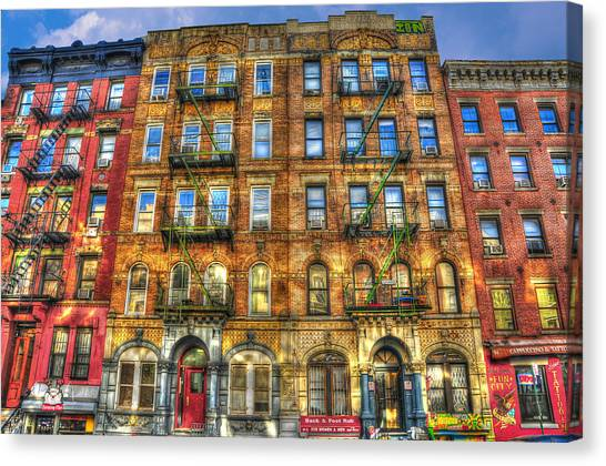 Villages Canvas Print - Led Zeppelin Physical Graffiti Building In Color by Randy Aveille