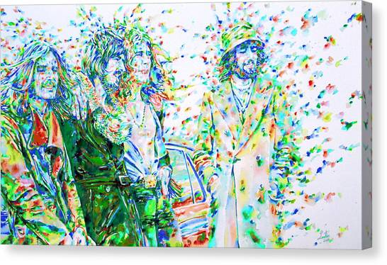Robert Plant Canvas Print - Led Zeppelin - Watercolor Portrait.2 by Fabrizio Cassetta