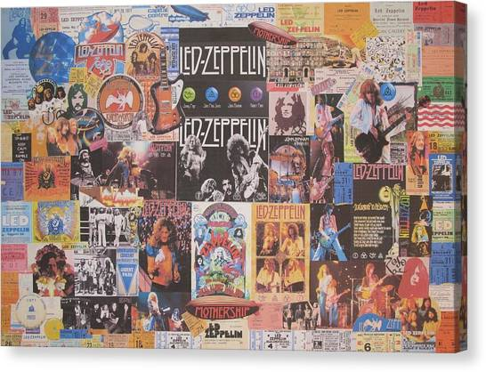 Percussion Instruments Canvas Print - Led Zeppelin Years Collage by Donna Wilson