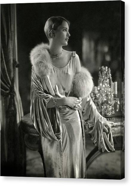 Lee Miller Wearing An Evening Gown Canvas Print