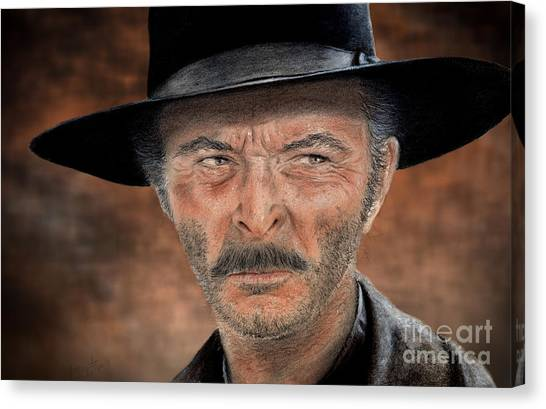 Lee Van Cleef As Angel Eyes In The Good The Bad And The Ugly Version II Canvas Print