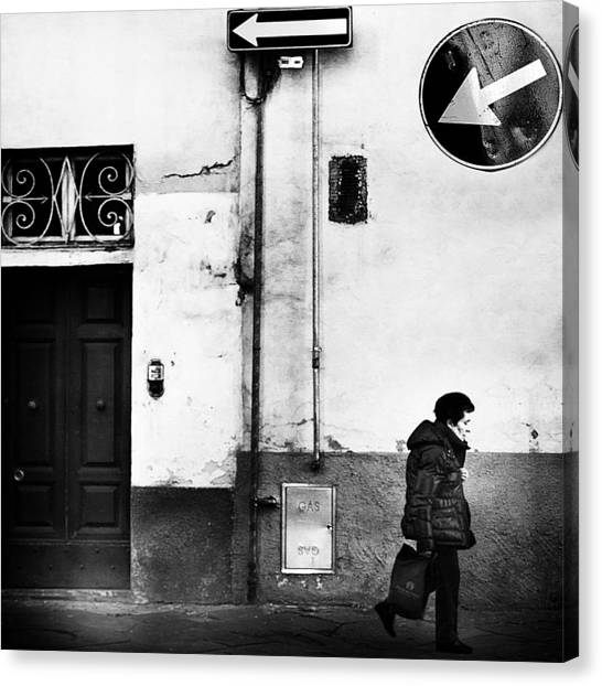 Street Canvas Print - Left .... Absolutely! by Franco Maffei