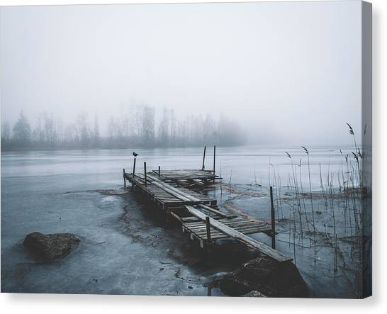 Crows Canvas Print - Left For Winter by Christian Lindsten