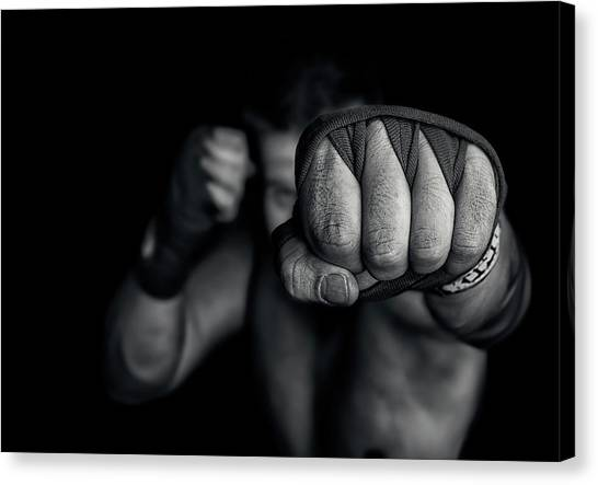 Boxing Canvas Print - Left Wing by Adrian Vrican