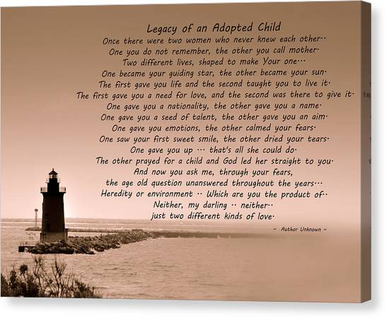 Legacy Of An Adopted Child Canvas Print