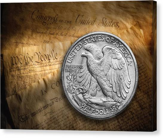 Coins Canvas Print - Legal Tender by Tom Mc Nemar