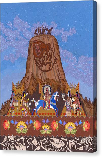 Canvas Print featuring the painting Legend Of Bear's Tipi by Chholing Taha