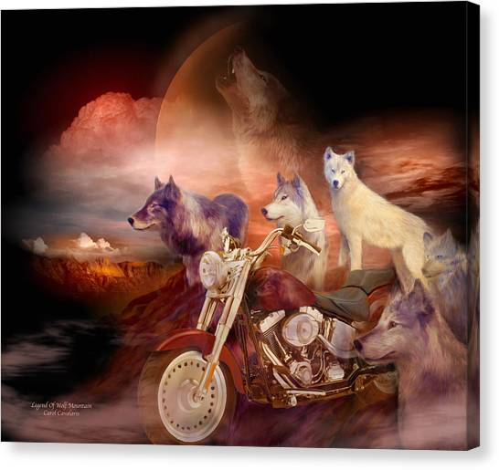 Howling Wolves Canvas Print - Legend Of Wolf Mountain by Carol Cavalaris