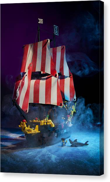 Pirate Canvas Print - Lego Pirate Ship by Samuel Whitton