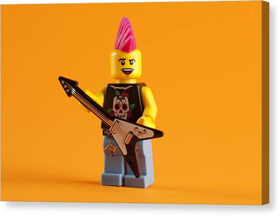 Rocker Canvas Print - Lego Punk Rocker by Samuel Whitton