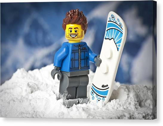 Snowboarding Canvas Print - Lego Snowboarder by Samuel Whitton