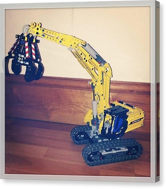 Excavators Canvas Print - #lego #technic #excavator #42006 by Richard Tanswell