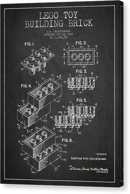 Block Canvas Print - Lego Toy Building Brick Patent - Dark by Aged Pixel