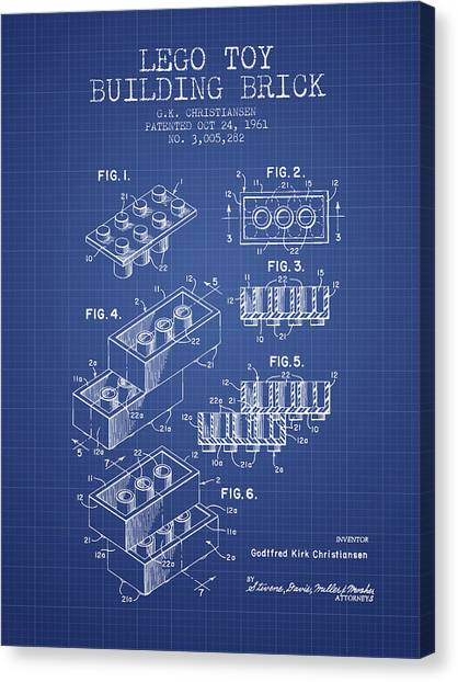 Block Canvas Print - Lego Toy Building Brick Patent From 1961 - Blueprint by Aged Pixel