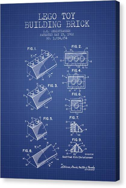 Block Canvas Print - Lego Toy Building Brick Patent From 1962 - Blueprint by Aged Pixel