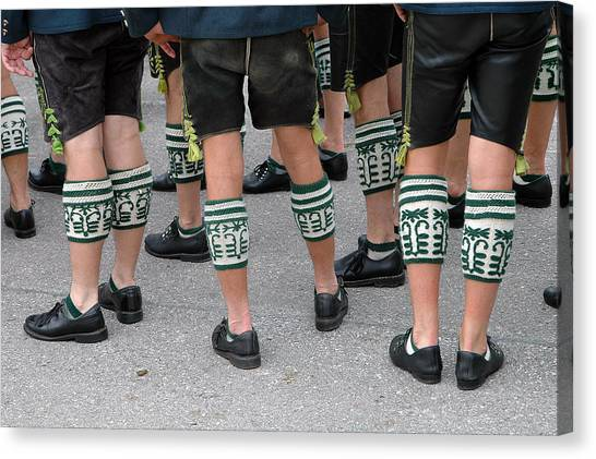 Legs Of Men With Traditional Bavarian Half Stockings Canvas Print