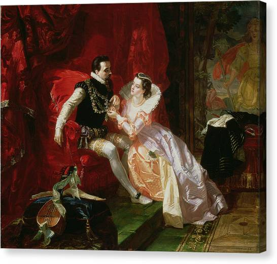 Lute Canvas Print - Leicester And Amy Robsart At Cumnor by Edward Matthew Ward