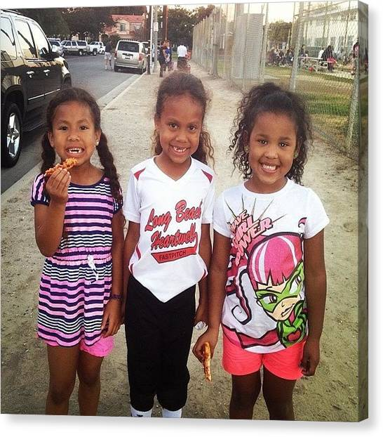 Softball Canvas Print - Leiya And Her Sisters At Tiare's Game by Brittney Kahai