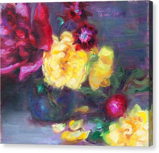 Lemon And Magenta - Flowers And Radish Canvas Print