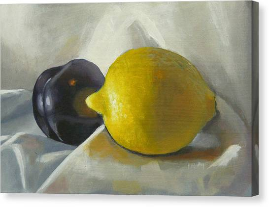 Lemon And Plum Canvas Print by Peter Orrock