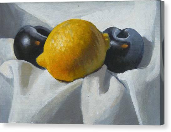 Lemon And Plums Canvas Print by Peter Orrock