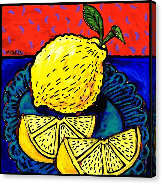 Lemon And Two Slices Canvas Print