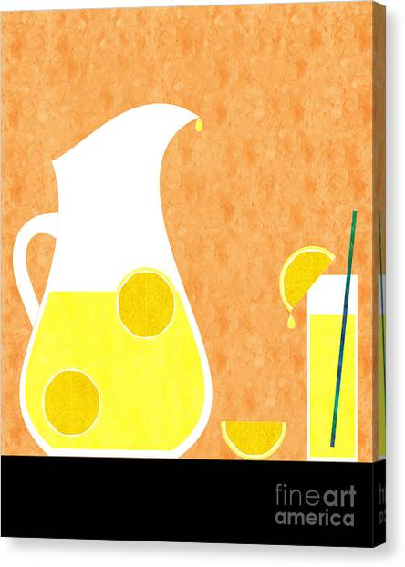 Beverage Canvas Print - Lemonade And Glass Orange by Andee Design