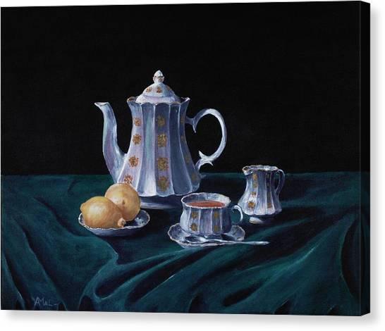 Tea Set Canvas Print - Lemons And Tea by Anastasiya Malakhova