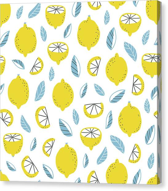 Printmaking Canvas Print - Lemons Pattern by Stolenpencil