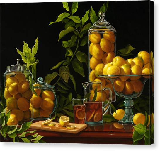 Iced Tea Canvas Print - Lemons With Cutting Board And Iced Tea by Diane Fraser