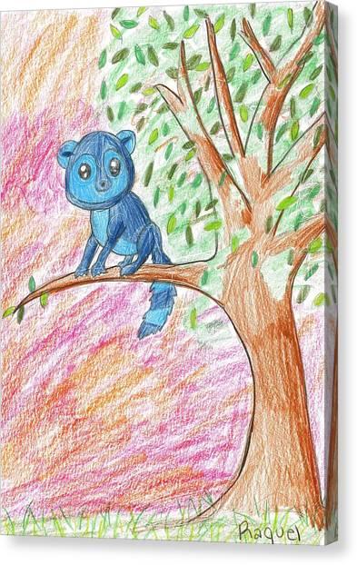 Lemur At Home Canvas Print by Raquel Chaupiz