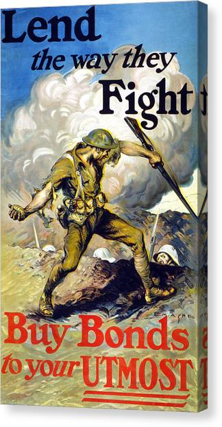 Grenades Canvas Print - Lend The Way They Fight, 1918 by Edmund Ashe