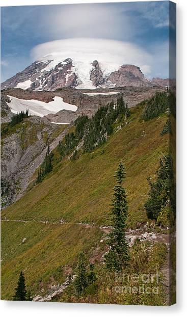 Lenticular Cloud Atop Mt Rainier Canvas Print