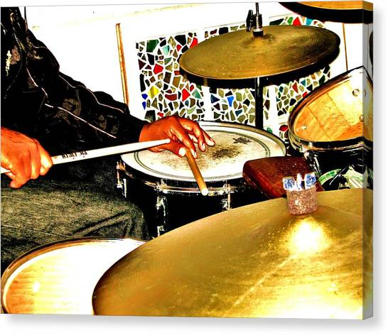 Leo Drumming Canvas Print by Cleaster Cotton