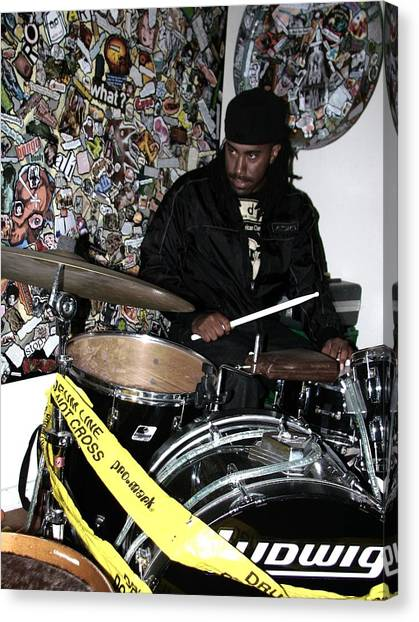 Leo Fierce On Drums Canvas Print by Cleaster Cotton