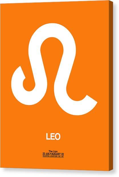Canvas Print - Leo Zodiac Sign White On Orange by Naxart Studio