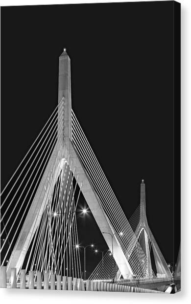 Leonard P. Zakim Bunker Hill Memorial Bridge Bw II Canvas Print