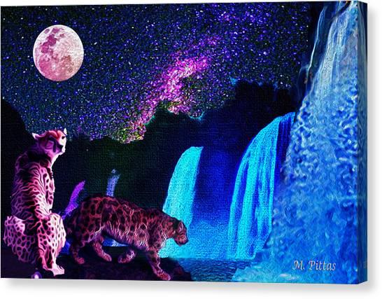 Leopard/chetah  In The Moonlight Canvas Print