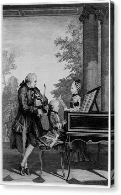 Harpsichords Canvas Print - Leopold Mozart And His Two Children by Louis Carrogis Carmontelle