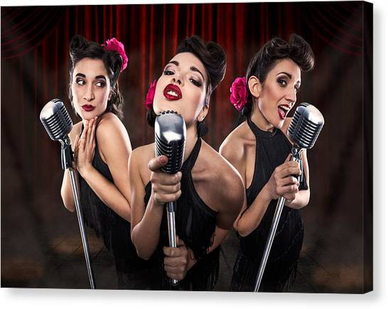 Microphones Canvas Print - Les Babettes - Turbo Swing Trio by Cosimo Barletta