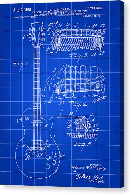 Guitar Picks Canvas Print - Les Paul Guitar Patent 1953 - Blue by Stephen Younts
