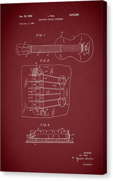Stratocasters Canvas Print - Les Paul Guitar Patent 1962 by Mark Rogan