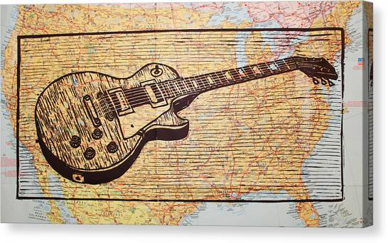 Les Paul On Usa Map Canvas Print