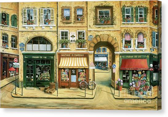 Flower Shop Canvas Print - Les Rues De Paris by Marilyn Dunlap
