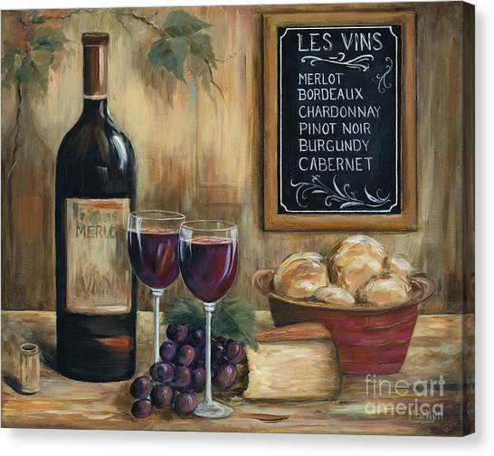 Cork Canvas Print - Les Vins by Marilyn Dunlap