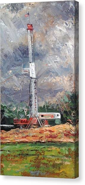 Fracking Canvas Print - Les Wilson Rig by Spencer Meagher