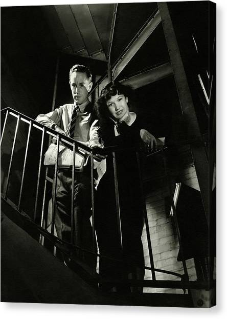 Petrified Forest Canvas Print - Leslie Howard And Peggy Conklin Leaning by Lusha Nelson